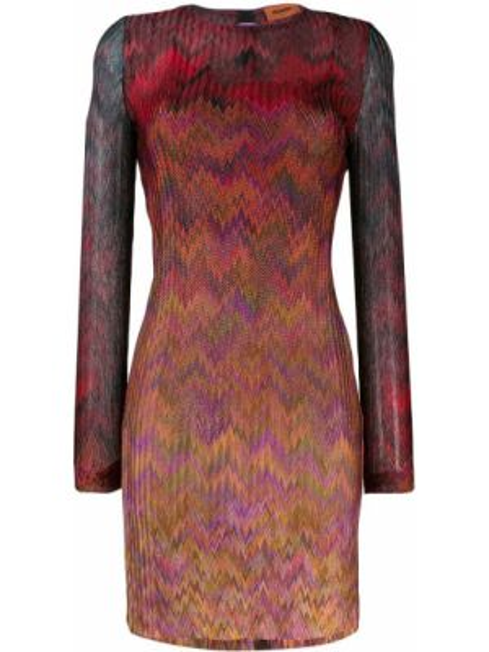 Шелковое красное платье макси с вырезом Missoni