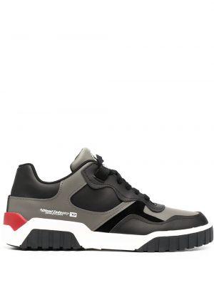 Koronkowa skórzany czarny sneakersy Diesel