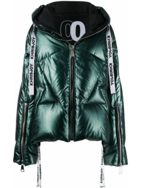 Куртка с капюшоном мятная с манжетами на молнии с карманами Khrisjoy