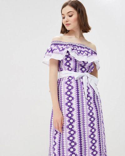 Платье с открытыми плечами фиолетовый Po Pogode