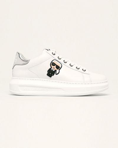 Белые текстильные кроссовки на платформе на шнуровке на каблуке Karl Lagerfeld