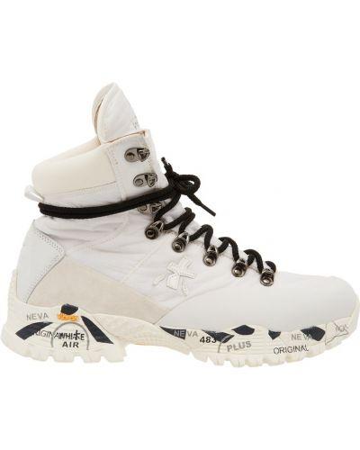 Ботинки на шнуровке кожаные текстильные Premiata