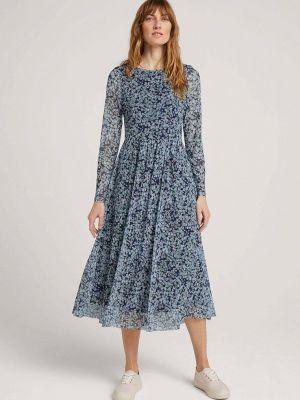 Прямое синее платье А-силуэта Tom Tailor