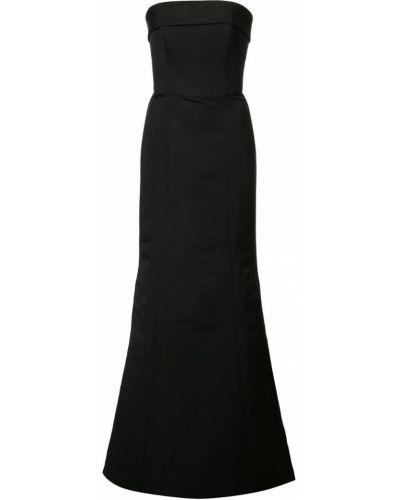 Черное приталенное вечернее платье без бретелек Amsale