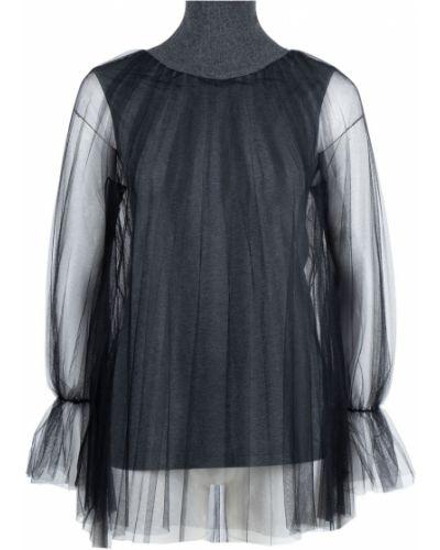 Блузка с длинным рукавом из фатина с воротником-стойкой Fabiana Filippi