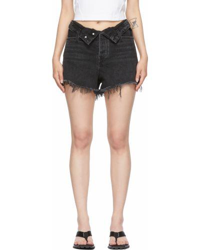Niebieskie szorty jeansowe skorzane z paskiem Alexander Wang