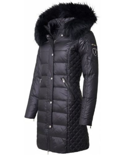 Czarna kurtka pikowana z futerkiem Rockandblue