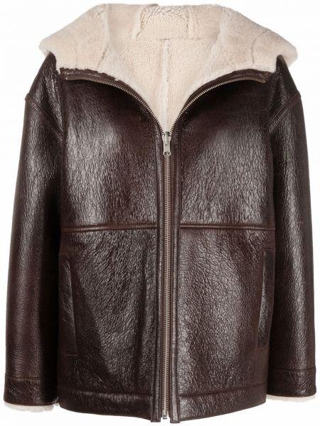 Кожаная куртка с капюшоном - коричневая Yves Salomon Army