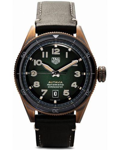 Зеленые кожаные часы Tag Heuer