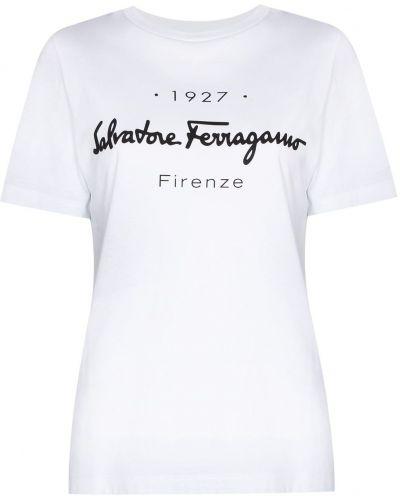 Белая футболка короткая Salvatore Ferragamo