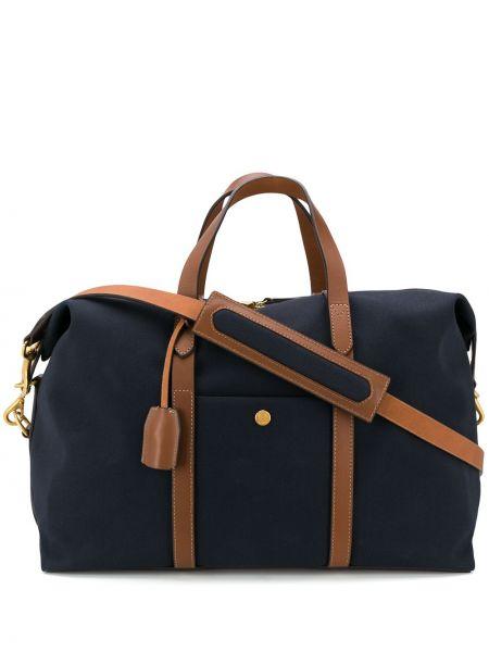 Кожаная синяя дорожная сумка на молнии со шлейфом Mismo