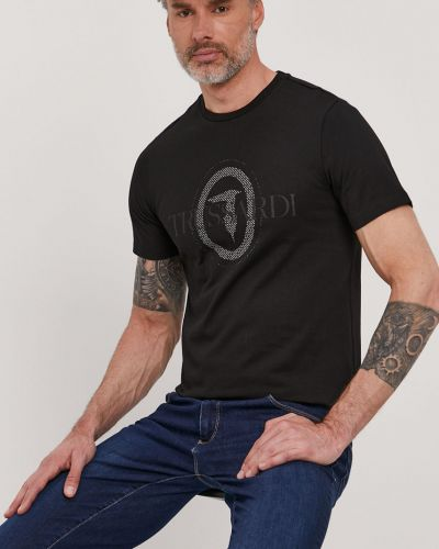 Czarny t-shirt bawełniany z printem Trussardi Jeans