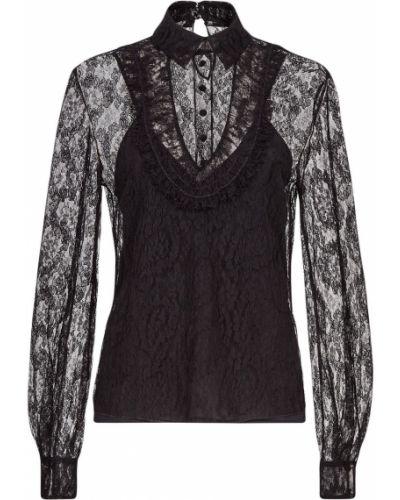 Шелковая черная кружевная блузка Fendi