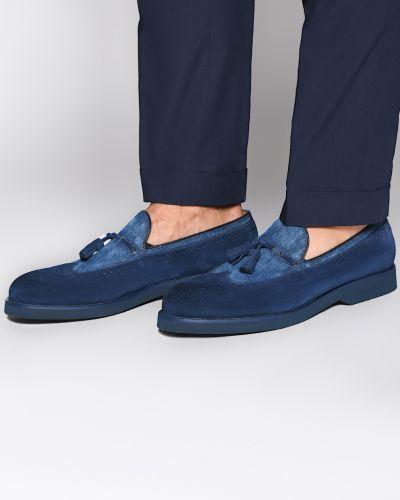 Лоферы замшевые синий Doucal's