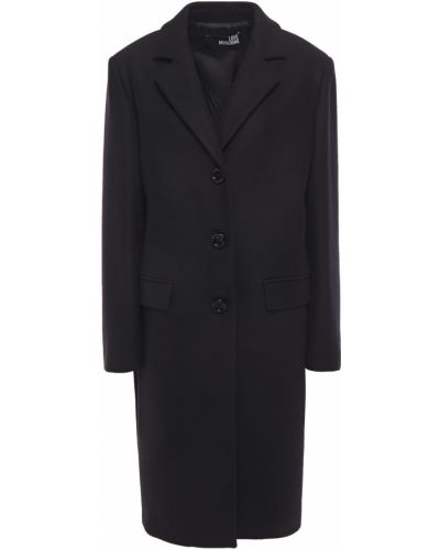 Черное кашемировое пальто с карманами Love Moschino