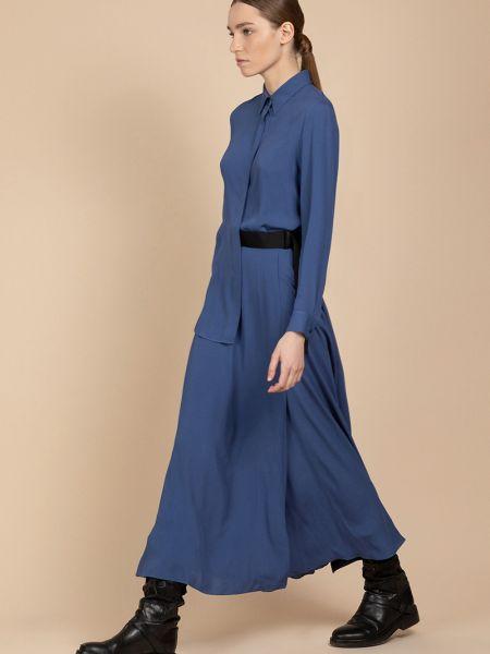 Платье с поясом с отложным воротником из вискозы Vassa&co