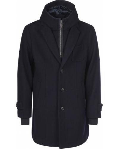 Шерстяное черное пальто Emporio Armani