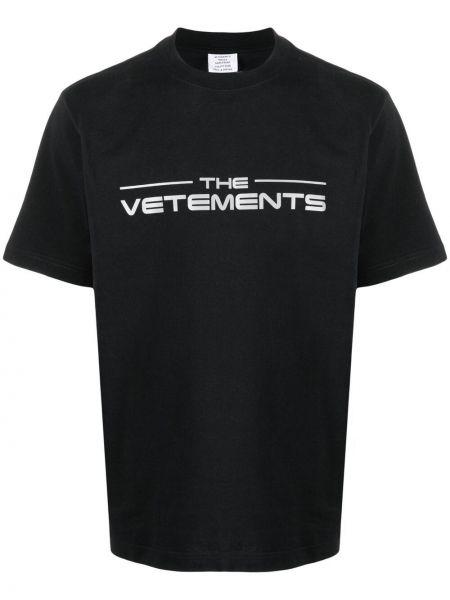Прямая хлопковая черная футболка Vetements