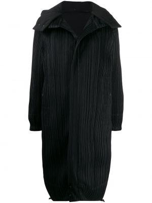 Длинное пальто - черное Pleats Please Issey Miyake