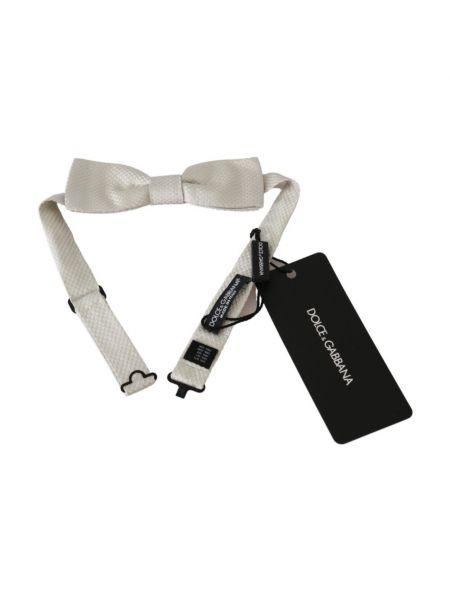 Biały krawat z jedwabiu Dolce And Gabbana