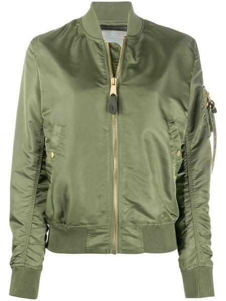Зеленая куртка на молнии в рубчик с оборками Alpha Industries
