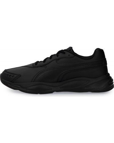 Кожаные черные кроссовки беговые для бега Puma