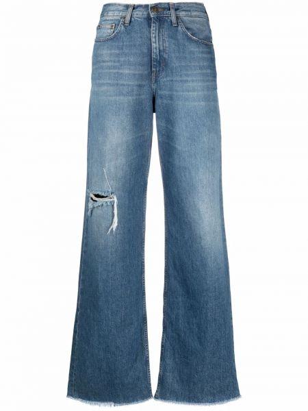 Широкие джинсы с завышенной талией - синие Haikure