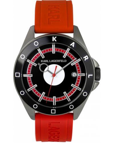 Czerwony zegarek kwarcowy z paskiem Karl Lagerfeld
