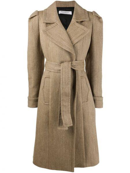 Коричневое шерстяное длинное пальто с поясом Philosophy Di Lorenzo Serafini