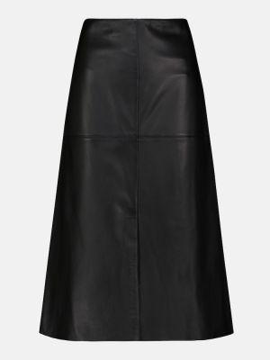 Кожаная юбка миди - черная Joseph
