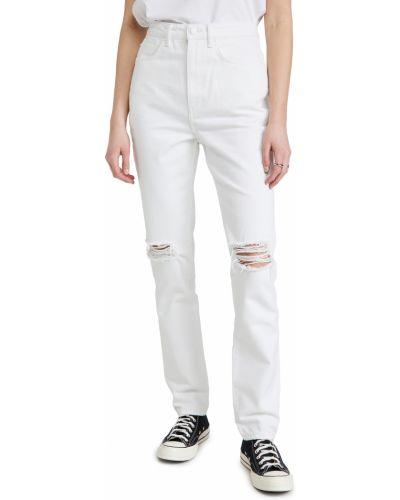 Прямые белые джинсы с карманами Denim X Alexander Wang