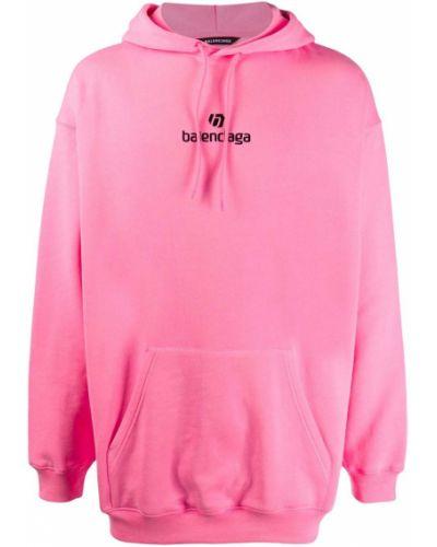 Z rękawami różowy bluza z kapturem z haftem z kapturem Balenciaga
