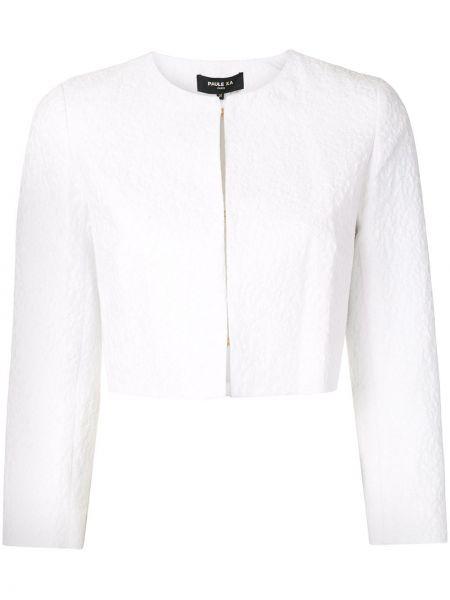 Хлопковый белый короткая куртка с вырезом Paule Ka