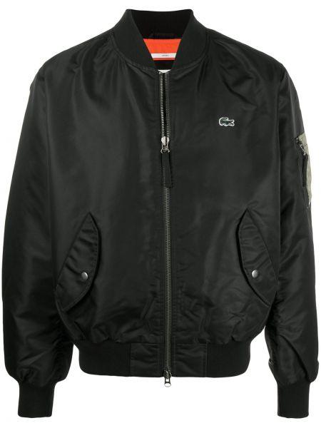 Czarna długa kurtka z haftem bawełniana Lacoste Live