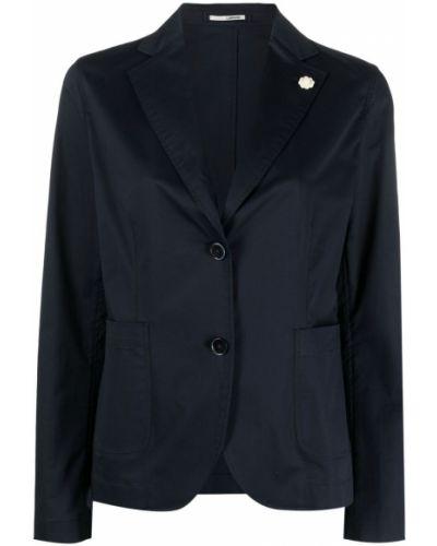 Однобортный синий удлиненный пиджак на пуговицах Lardini