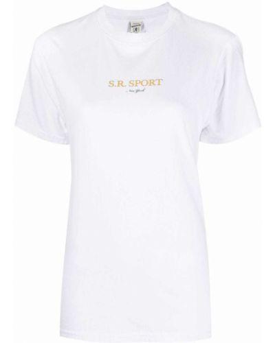 Прямая хлопковая белая футболка Sporty And Rich