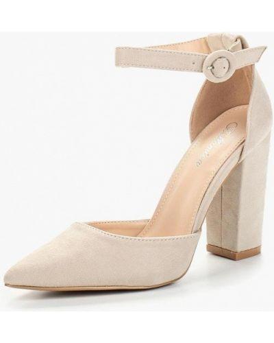 Туфли на каблуке замшевые бежевый Bellamica
