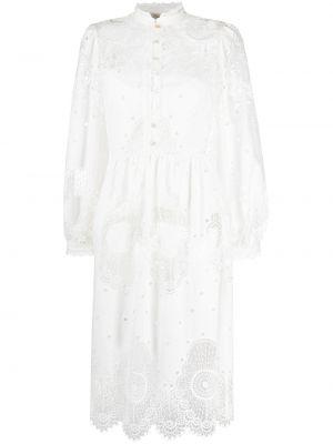 Белое платье с вышивкой на пуговицах с воротником Temperley London