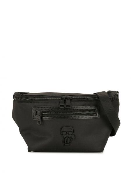 Черная поясная сумка на молнии с карманами Karl Lagerfeld