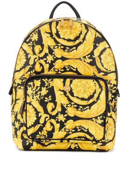 Желтый кожаный рюкзак на молнии Versace