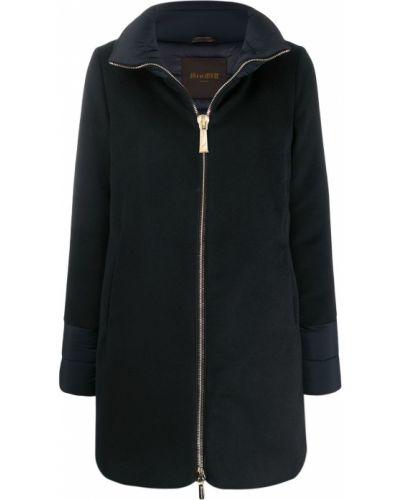 Синее шерстяное длинное пальто с воротником Moorer