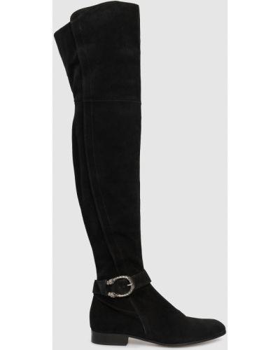 Замшевые ботфорты - черные Gucci
