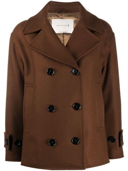 Коричневое шерстяное пальто двубортное Mackintosh