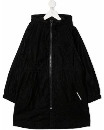 Czarny długi płaszcz z kapturem z długimi rękawami Karl Lagerfeld Kids
