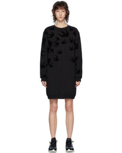 Черное платье макси с длинными рукавами с воротником Mcq Alexander Mcqueen
