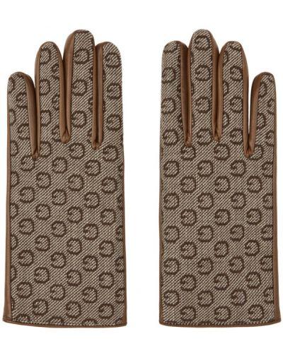 Бежевые кожаные перчатки с подкладкой Gucci