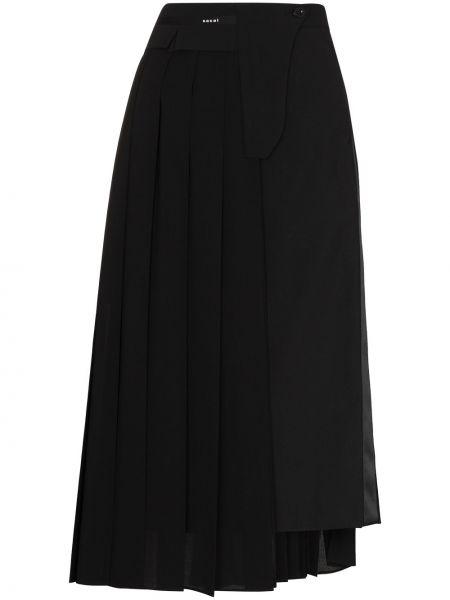 Czarna spódnica midi z wysokim stanem asymetryczna Sacai