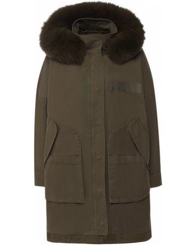 Куртка с капюшоном милитари с подстежкой Army Yves Salomon