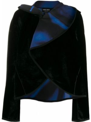 Бархатная черная короткая куртка с капюшоном Giorgio Armani