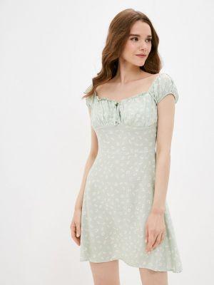 Бирюзовое платье с открытыми плечами Defacto